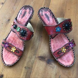 Spring Step VIA Floral Slide Mule Sandals Sz 41/11